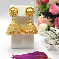 Indian Asian Bridal Wedding Bollywood Jewellery 18ct Gold Plated Jhumka Earrings