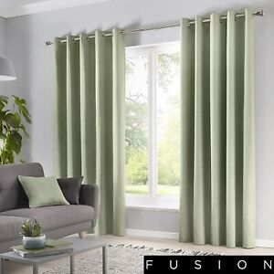 Fusion Sorbonne Ready Made Plain 100% Cotton Fully Lined Eyelet Curtains Green