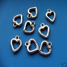 10 x Tibetan Silver Heart Ribbed Pendant Charm