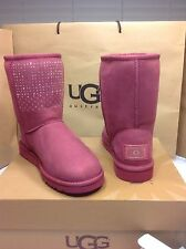 UGG Australia Classic Short Bling Boots Sangria w/ Swarovski Crystals Size 7 US