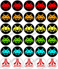 30 x Space Invaders Retro Edible Rice Wafer Paper Cupcake Toppers