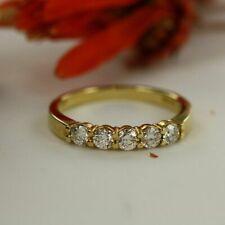14k Yellow Gold FN 5-Stones 0.50 Ct Round Diamond Wedding Band Anniversary Ring