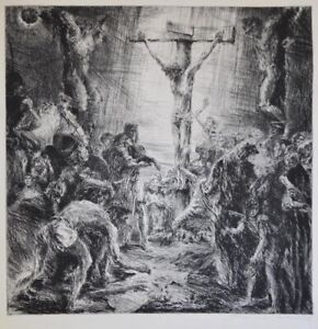 A fine etching of the Crucifixion, pencil signed, mystery artist,impressive