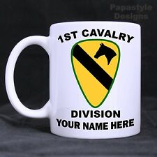 US Army 1st Cavalry Div Personalized 11oz Coffee Mugs Made in the USA.