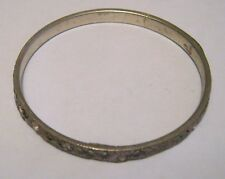 Great basic silver tone bangle purple decoration approx 2¼ ins wide