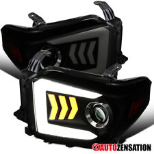 14-18 Toyota Tundra Led & Sequencial sinal Projector Headlights fumo negro