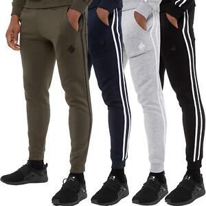 Enzo Mens Fleece Striped Joggers Tracksuit Jogging Bottoms Gym Casual Sweatpants