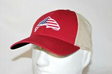 Simms Fly Fishing USA Patch Trucker Mesh Snapback Hat Cap in Scarlet OSFM