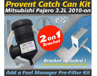 ProVent Catch Can Pre-Filter Dual Bracket Kit for Mitsubishi Pajero 3.2L 2010-on