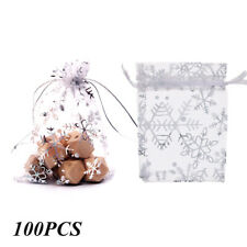 100pcs Translucent Candy Bag Snowflake Jewelry Organza Wedding Gift Pouch UK