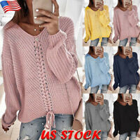 Women's V Neck Lace Up Jumper Sweaters Casual Loose Knitted Pullover Tops Blouse