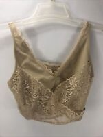 CaraMia Crossover Side Close Bra Wire Free Unpadded Lace Womens Size 2X Beige