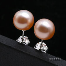 9mm Light Pink Freshwater Pearl Earrings in 925 Silve for Womens Birthday Gift