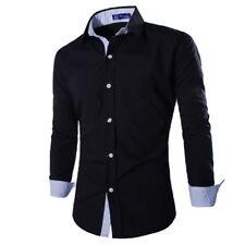 Luxury Men's Casual Slim Fit Shirt Long Sleeve Dress Casual Shirt Solid Tops BM