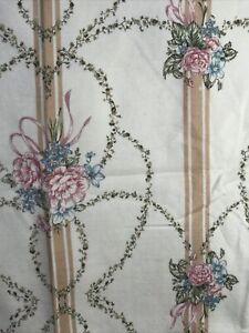 Vintage Floral Blanket 72 x 87 Shabby Chic Cottage EUC USA Satin Trimmed