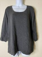 Old Navy Womens Size L Gray Knit Blouse 3/4 Sleeve Scoop Neck