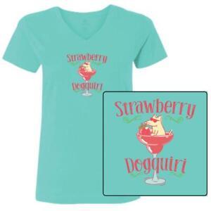 Teddy the Dog T Shirt Strawberry Dogquiri Ladies V Neck Tee Ltd Edition Cocktail