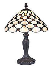 TIFFANY STYLE HANDMADE UNIQUE STAINED GLASS DESK TABLE LAMP LIGHT - 25cm WIDE