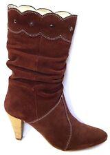 TILT leather shoes sz 37 / 6.5  'Prugna' Italian suede Cowboy Boots quality BNIB