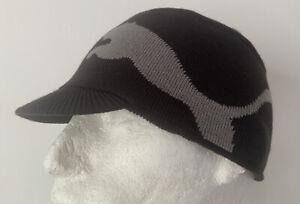 Puma Adults Unisex Fairbanks Knit Military Style Peak Beanie Hat 842239 01