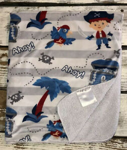 Pirate Boy White Grey Baby Blanket Plush Lovey Treasure Chest Palm Tree Ahoy