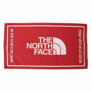 The North Face Korea Beach Towel, TNF Logo, Red Color, 100% Cotton, 130cmx72cm