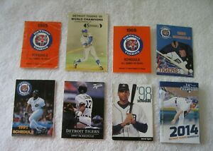 Lot of 8 Detroit Tigers Baseball Schedules from the 1980s, 1990s and 2014