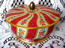 ViNTaGe Red SPiRaL FLoWeRs & GoLD Footed Tin Metal Cookie Candy Box ~ FiniaL Lid