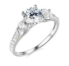 2.25 CT redondo 3 Piedra Anillo de compromiso de boda real oro blanco sólido 14K