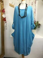 MADE IN ITALY LAGENLOOK  BLUE 2 POCKETS LONG SLEEVES JERSEY DRESS SIZE 16-18-20