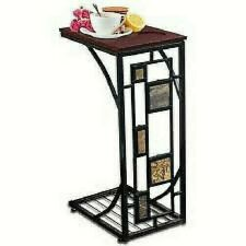 Geometric Sofa Side Table - Tray Table Stand With Cup Holder - Square Design