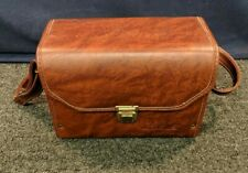 Minolta Faux Brown Leather Bag Camera Shoulder Bag Carrying Case Hard