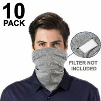 Face Mask Cotton Washable With Filter Pocket Reusable Mouth Cover Gray 10 PCS