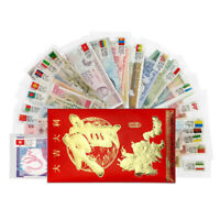 Lot Set 52 PCS Different Banknotes From 22 Countries, with label in red bag, UNC