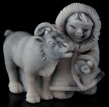 Eskimo Girl Feeds Baby Deer Fawn Marble Sculpture Russian Stone Art Figurine