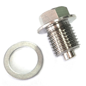 M14 x 1.5 MM Stainless Steel Oil Drain Plug with Neodymium Magnetic & Washer Set