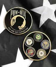 POW MIA 5 Branches of Military USAF ARMY USMC USN USCG DOD Challenge Coin