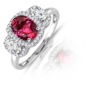 Oval Triple Cut Ruby Gemstone Fashion Brilliant CZ Genuine Sterling Silver Ring