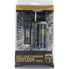 8-N-1 Car Charger-Power Bank-Flashlight-Safety Tool:Glass Hammer/Belt Cutter