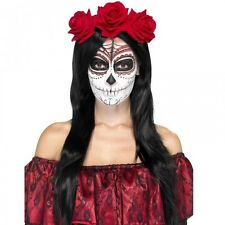 Halloween Mexican Day of the Dead Headband Red Roses Ladies Fancy Dress Costume