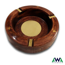 Wooden Cigarette Ashtray Round Shape hand made Brass Worked Cigar Ash Tray
