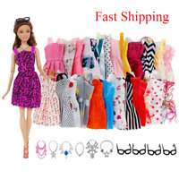 For Barbie Doll Dresses, Shoes and jewellery Clothes Accessories 30 Item/Set F