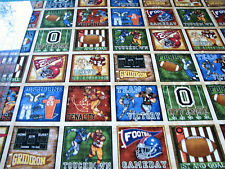 1+ Yard Quilt Cotton Fabric - RJR Dan Morris The Whole 9 Yards Football Squares
