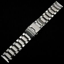 New Silver 22mm Stainless Steel Wrist Watch Band Strap Bracelet Fold over Clasp