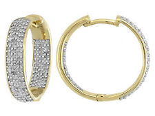 Lovely Diamond .50ctw Round 18k Yellow Gold Over Sterling Silver Hoop Earrings