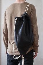 """Leder Turnbeutel """"Black"""" Leder Sportbeutel Rucksack Tasche #1"""