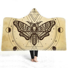 Sun Moon God Skull Moth Palmistry Adult Kids Warm Fleece Hooded Blanket Throw