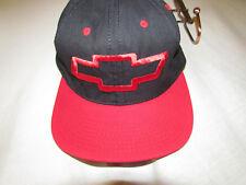 Vintage CHEVROLET Snap Back Hat Cap -USA MADE- RED / BLK -GREAT Shape, BIG Logo!