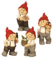 4er Set Gnome Gartenzwerge mit roter Mütze Figuren bis 22cm Figur Haus Garten