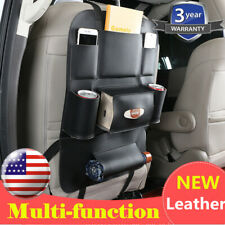 Black Leather Car Seat Back Bag Organizer Storage iPad Phone Holder Multi-Pocket